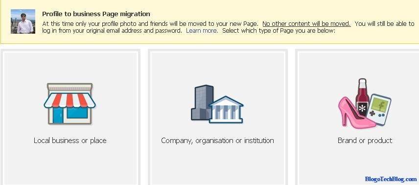 Facebook Profile to Business Page Migration