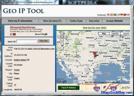 Traces IP location