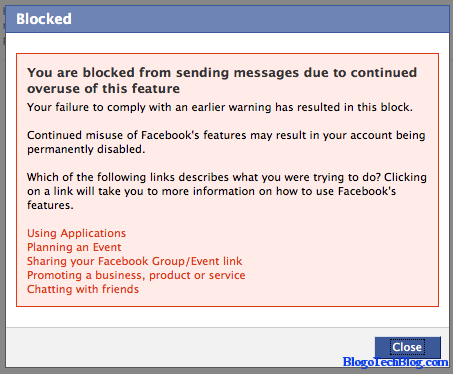 Facebook Blocked from sending messages