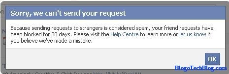 Facebook friend requests blocked