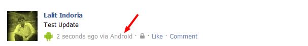 Facebook Status Update via Android
