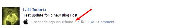 Facebook Status Update via iPhone 5
