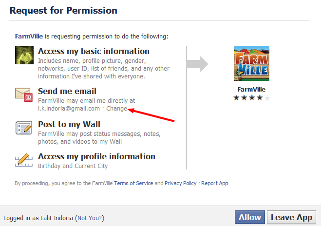 Hide Email Address from Facebook Apps