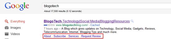 BlogoTech Sitelinks