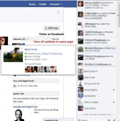 Facebook sidebar ticker