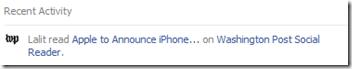 App updates on Facebook timeline