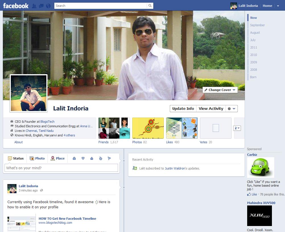 Get Facebook timeline