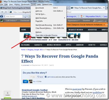 Open Firefox Tabs in Chrome