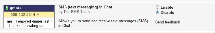 Gmail text messaging enable