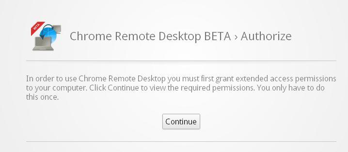 Chrome Remote Desktop Beta authorization