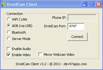 DroidCam screenshot