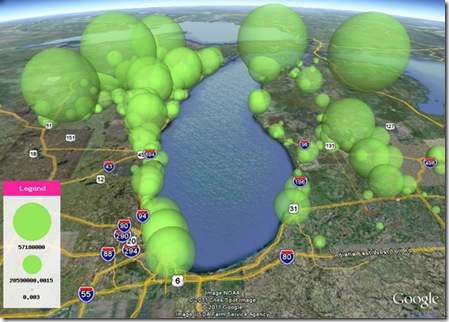 bubble-space-field of green park space proportional 3d map
