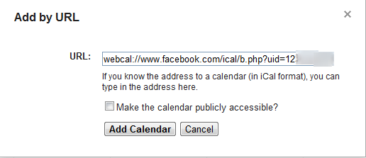 Add Facebook birthday URL to Google Calendar
