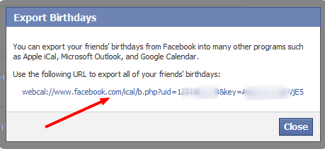 Facebook birthdays export URL
