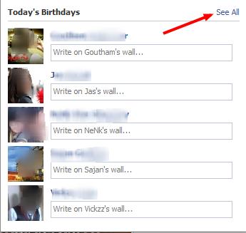 Facebook friends birthdays