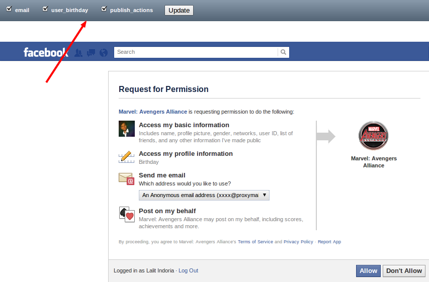 Block specific permissions for facebook apps