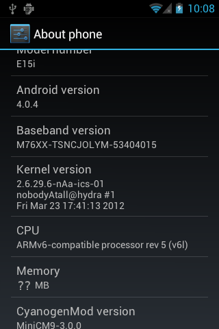 ICS 4.0.4 on Sony Ericsson Xperia X8