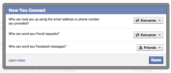 Facebook messages privacy setting