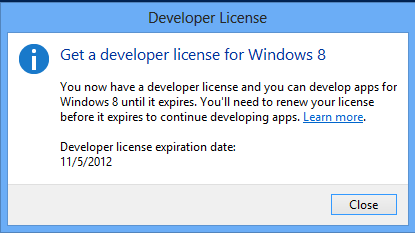 Developer License Windows 8